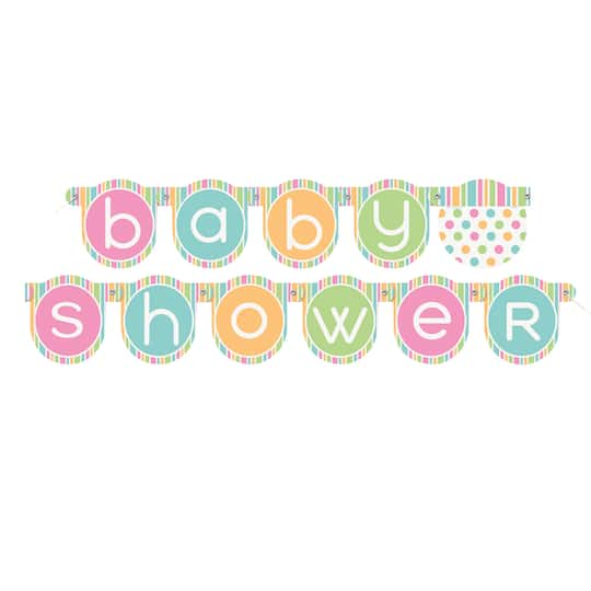 Pastel Baby Shower Banner Baby Shower Decorations