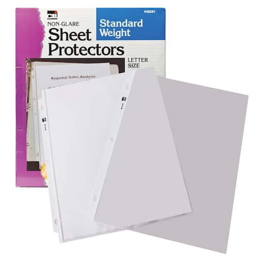 non glare letter size standard weight sheet protectors box of 100