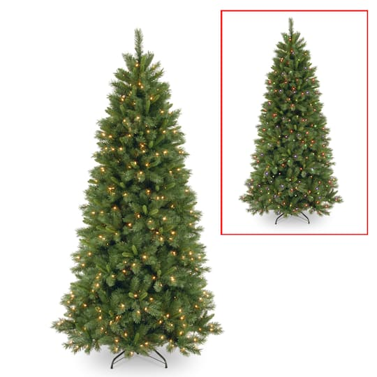 Pre Lit Half Christmas Tree: 7.5 Ft. Pre-lit Hinged Lehigh Valley Pine Slim Artificial