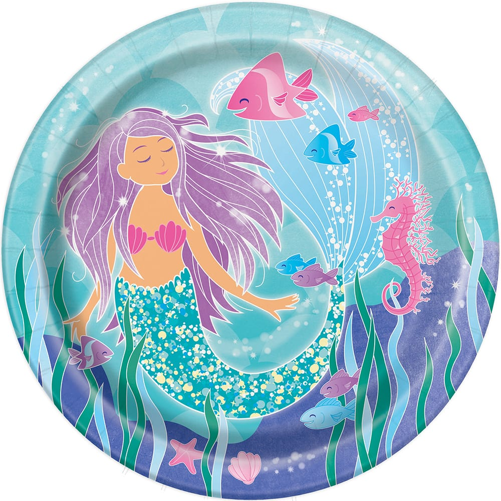 9\ Mermaid Paper Plates | Party Supplies