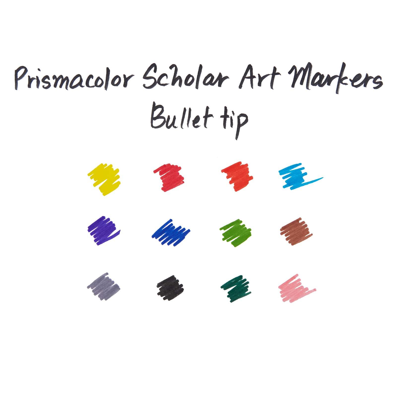 Prismacolor Scholar Bullet Tip Art Markers 10 Colors Water Based Low Odor Ink