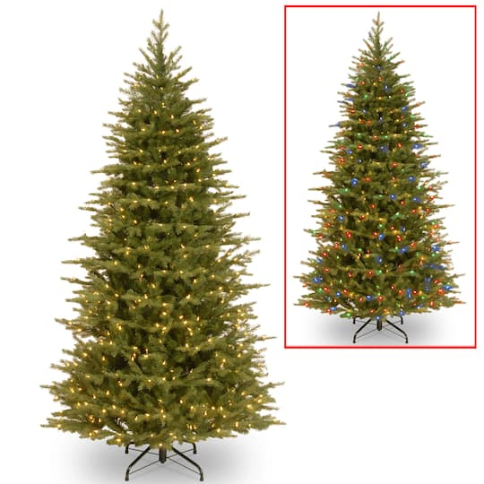 7.5 Ft. Pre-Lit Feel Real® Nordic Spruce Slim Artificial Christmas Tree,  Dual Color® LED Lights