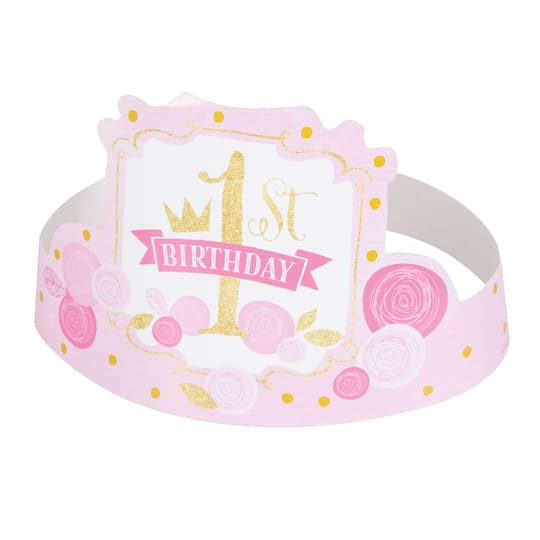 Pink And Gold 1st Birthday Hats Girl 1st Birthday Party Supplies