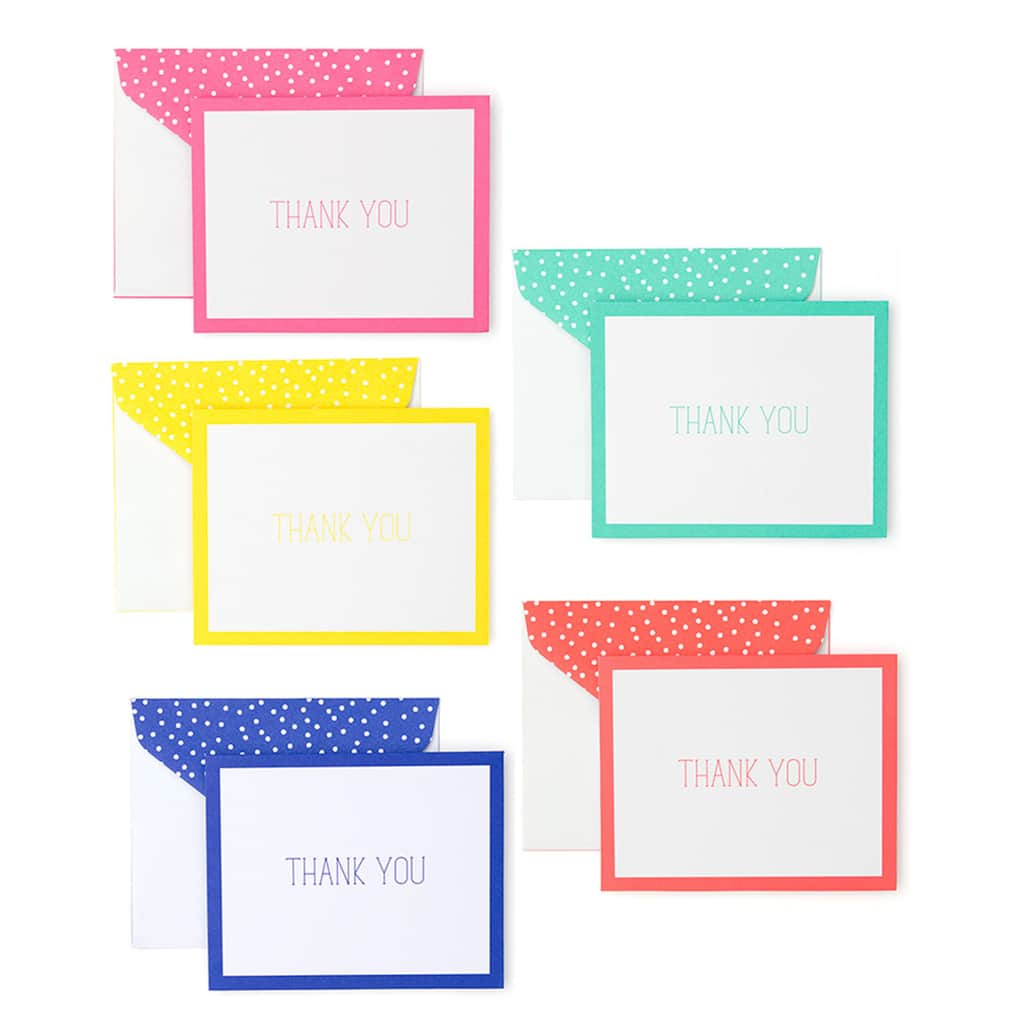 roobee bright dots thank you card assortment