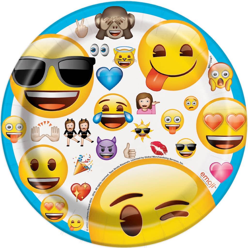 7 Emoji Party Plates 8ct Img