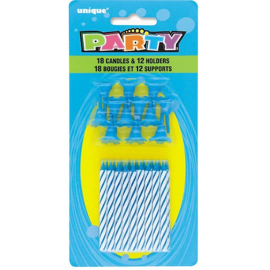 Striped Blue Birthday Candles With Holders 30pc