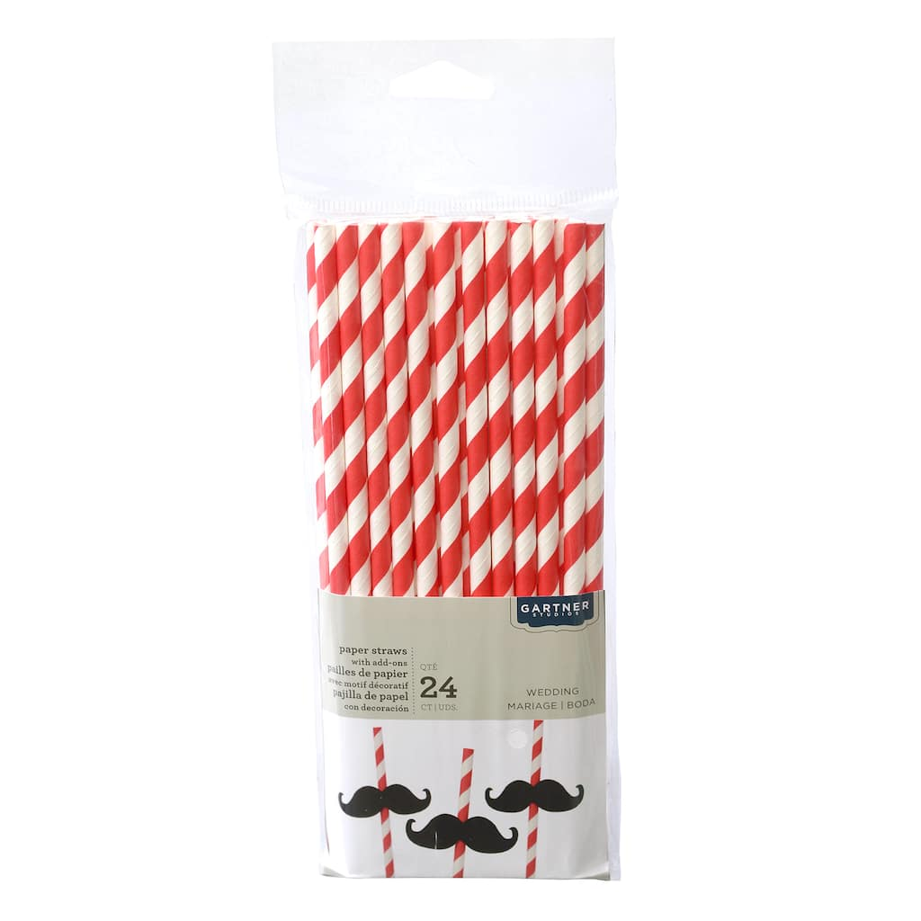 Buy the Gartner® Studios Striped Paper Straws, Red at Michaels
