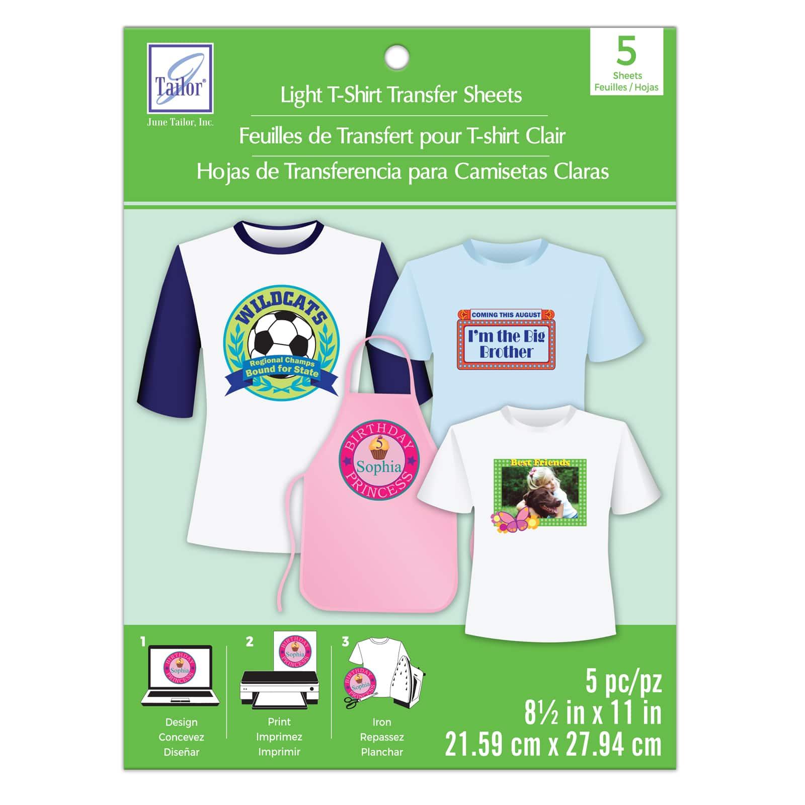 "June Tailor Iron On Light T-Shirt Transfer 6 Sheets 8.5/""x11/"""