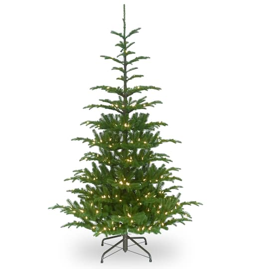 7.5 ft. Pre-lit Feel Real® Hinged Norwegian Spruce Slim Artificial  Christmas Tree, Clear Lights