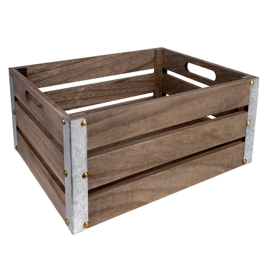 Wood Plank Crate With Metal Edges By Ashland� | Large | Michaels�