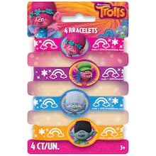 Trolls Rubber Bracelet Party Favors 4ct