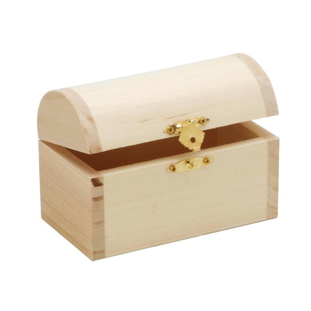 Unfinished Treasure Chest Style Hinged Wood Box
