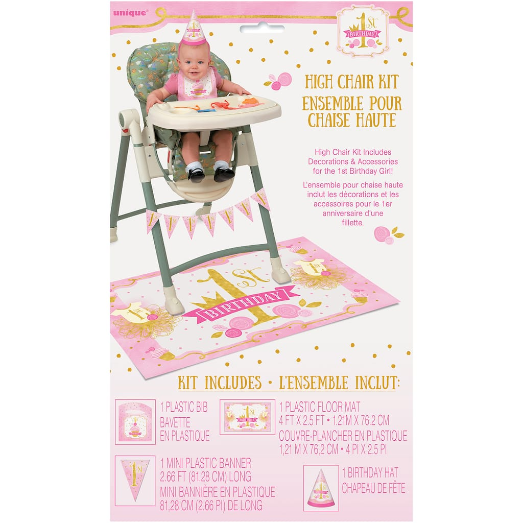 Pink And Gold 1st Birthday High Chair Decoration Kit