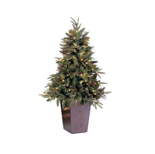 5 Ft Potted Pre Lit Green River Spruce Medium Artificial