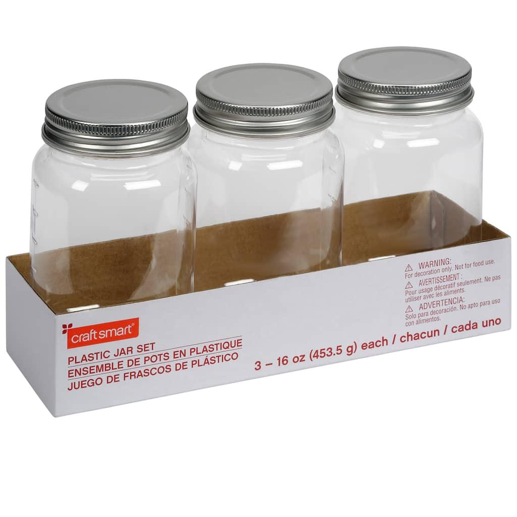 ace1247534bb 3 Count 16 oz. Plastic Mason Jars by Craft Smart™