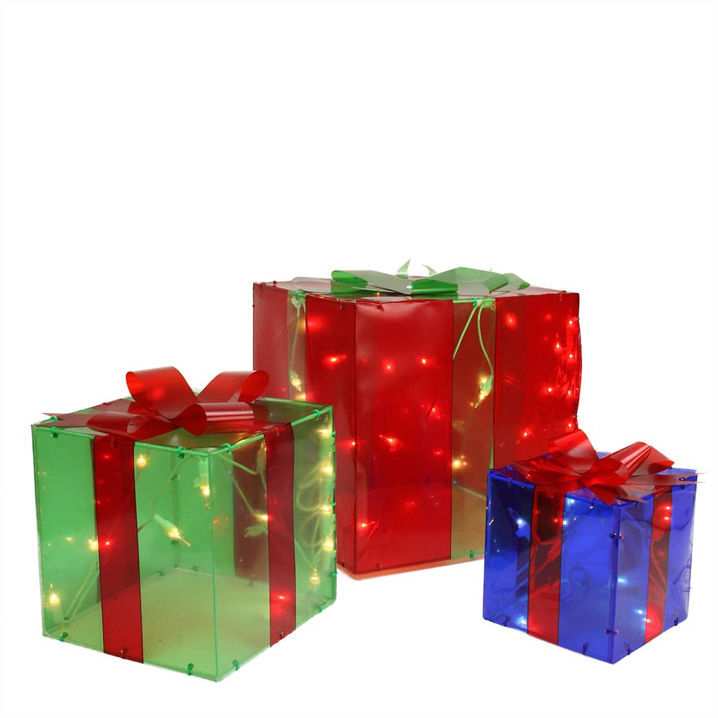Christmas Gift Packing: 3-Piece Lighted Red Green And Blue Gift Box Presents