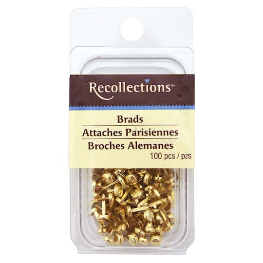 BRASS COLOR MINI ROUND BRADS Gold Color Scrapbooking Stamping Card Making