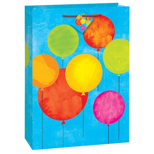Large Painted Balloon Happy Birthday Gift Bag