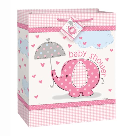Large Pink Elephant Girl Baby Shower Gift Bag Girl Baby Shower
