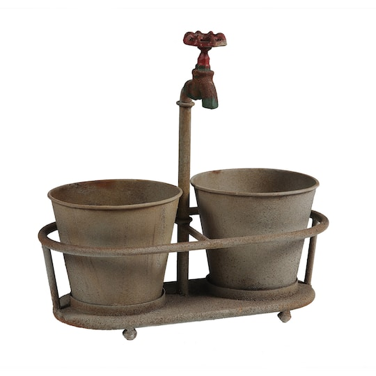 Rusted Metal Planters With Faucet