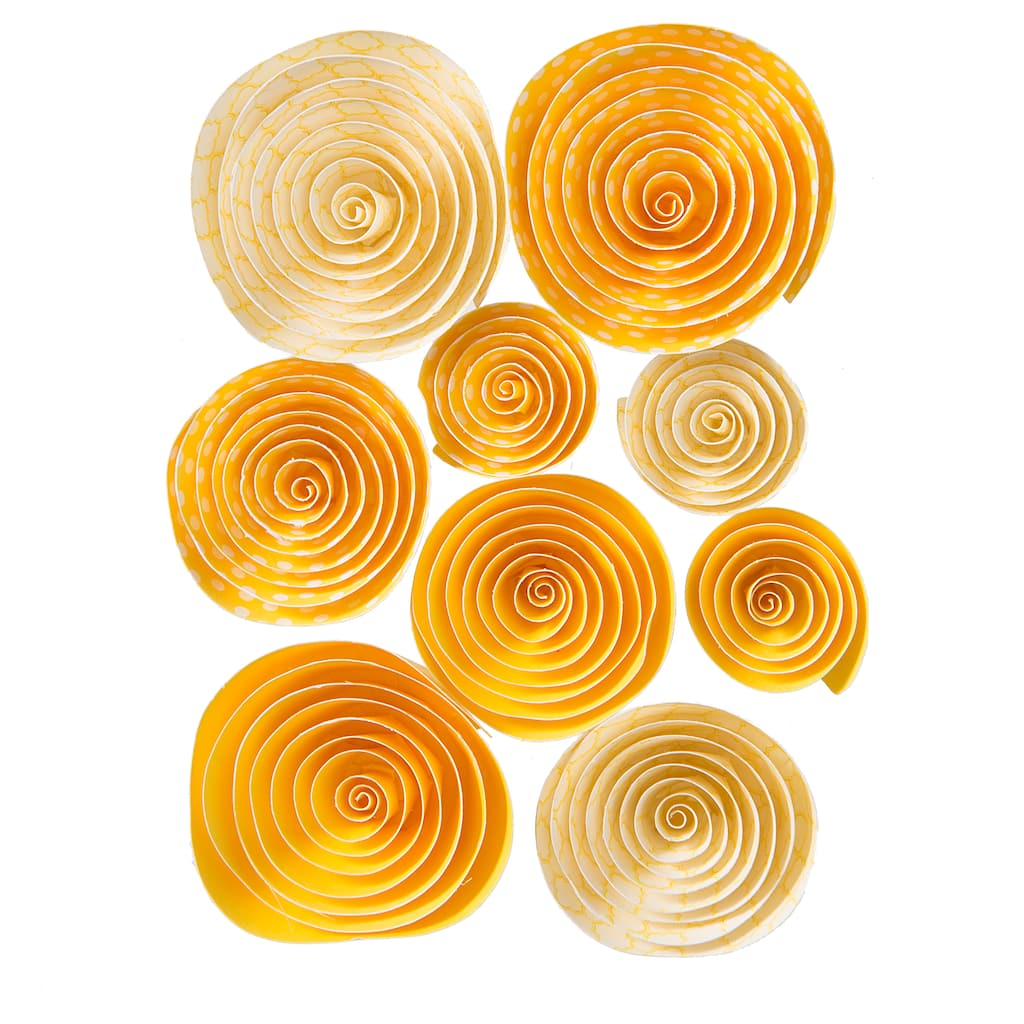 Darice Yellow Print Rolled Paper Flowers