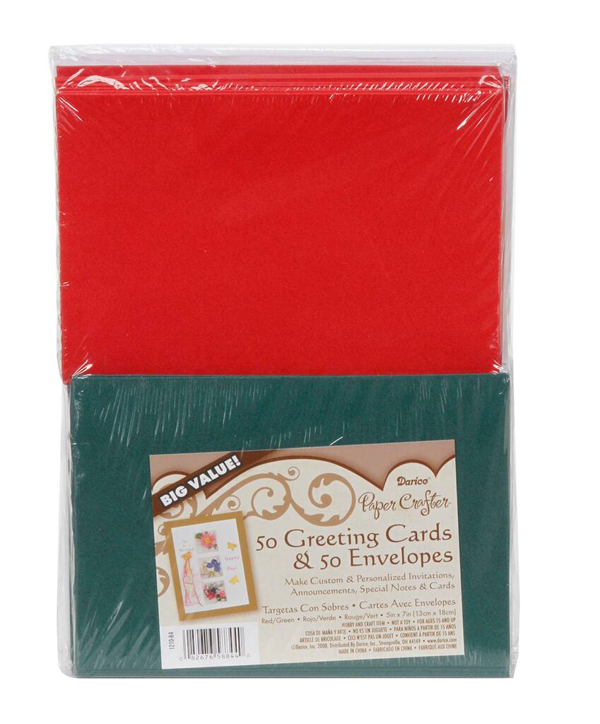 Darice 5 X 7 Blank Cards Envelopes Red Green 50 Pack