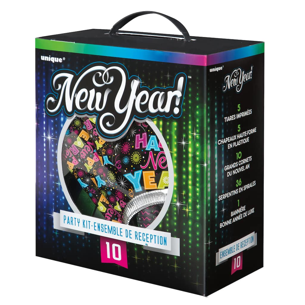 Colorful New Years Party Supply Kit for 10 Guests | New ...