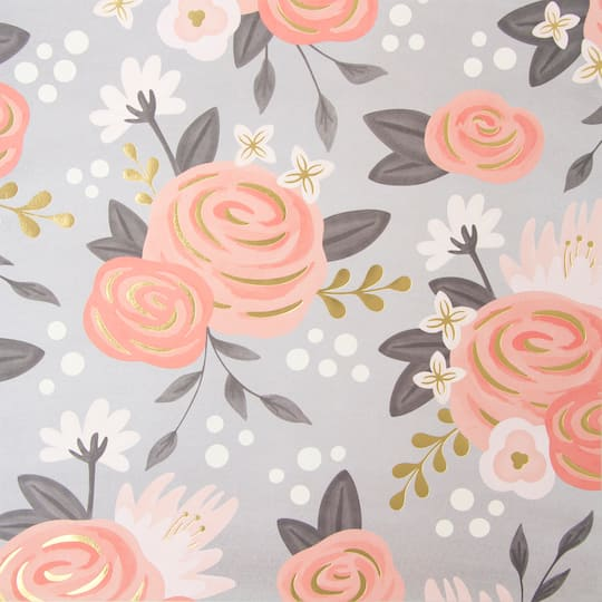 Gold Peach Flowers Scrapbook Paper By Recollections