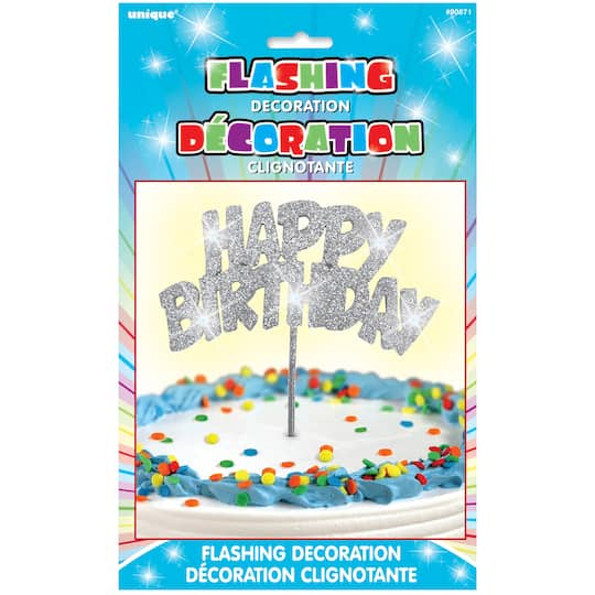 Flashing Silver Happy Birthday Cake Topper Img
