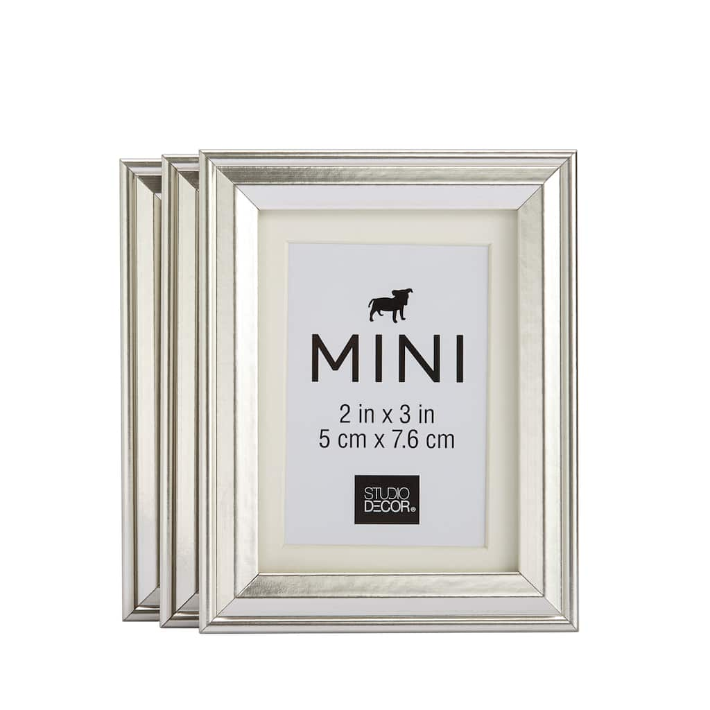 3-Pack Silver Mini Frames With Mat by Studio Décor®