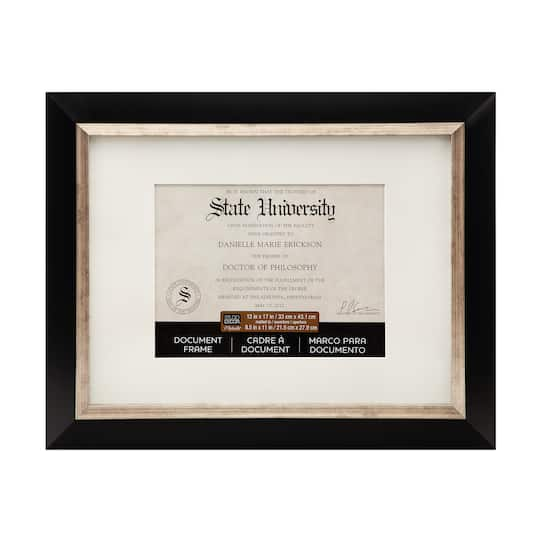 Black Silver Document Frame 13 X 17 With 85 X 11 Mat By