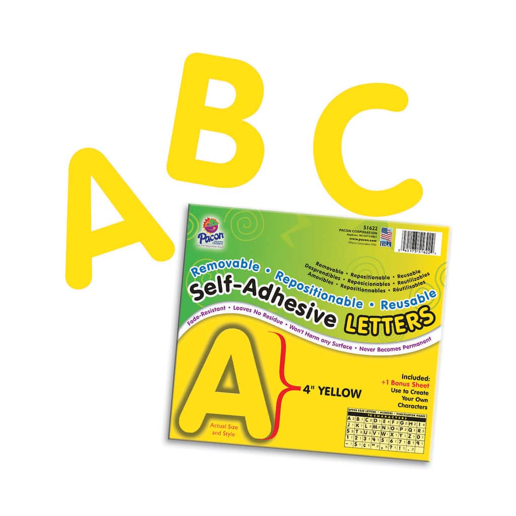"""4"""" Self-Adhesive Letters, Yellow"""