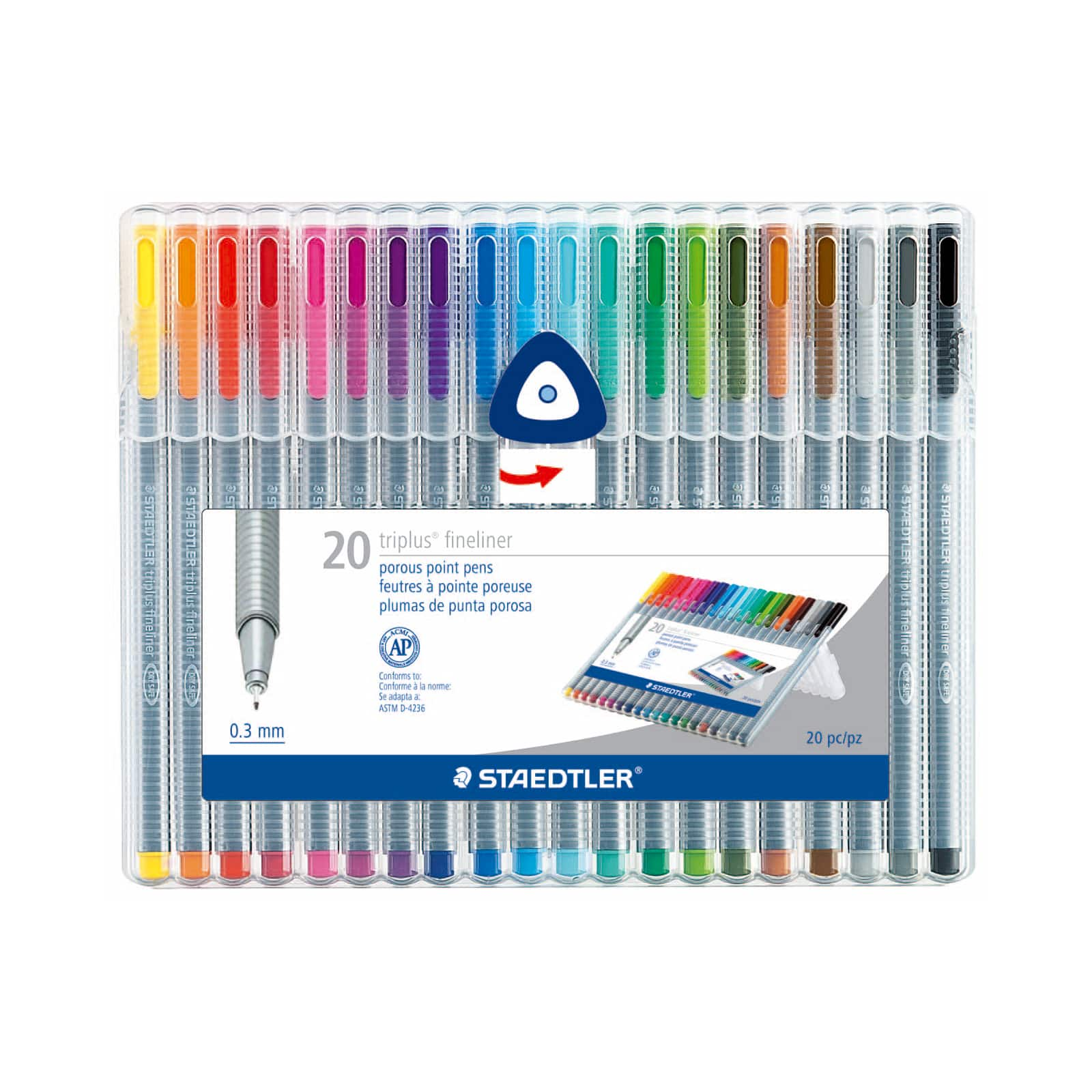 Staedtler Triplus Fineliner 0.3 mm Pens 20 Color Pack