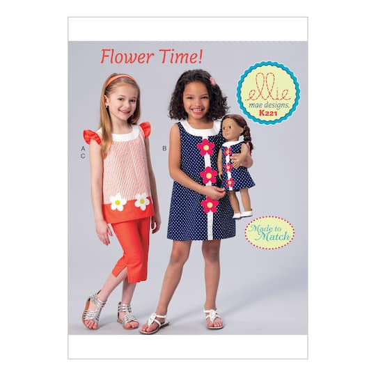 "Kwik Sew Pattern K0221 (XXS-XS-S-M-L) And 18"""" Doll"