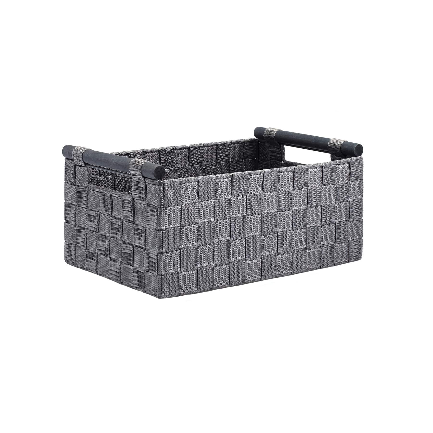 Gray Nylon Storage Basket With Wood Handles By Ashland®