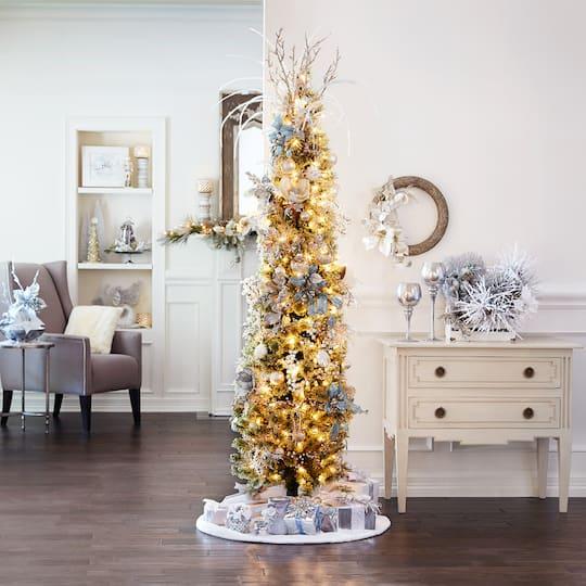 7ft Black Pre Lit Christmas Tree: 7ft. Pre-Lit Pencil Cashmere Artificial Christmas Tree