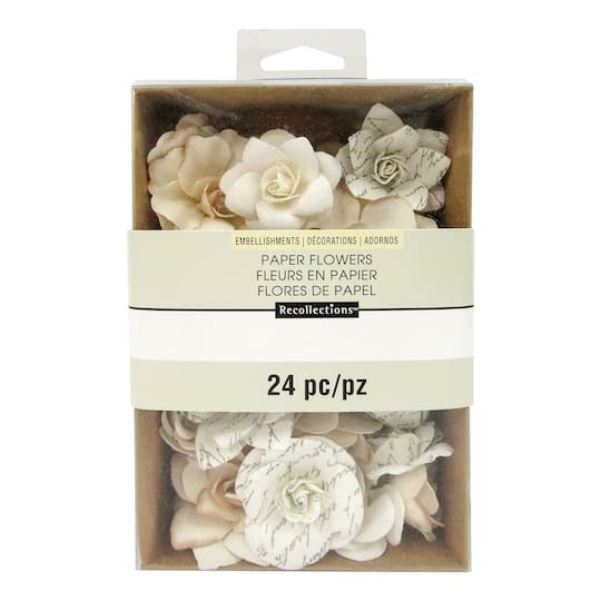 White Mulberry Paper Flower Embellishments By Recollections