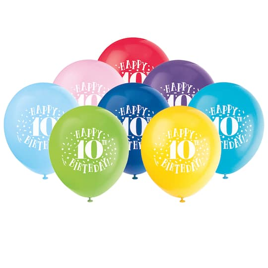 Happy 10th Birthday Balloons Assorted 8ct Img