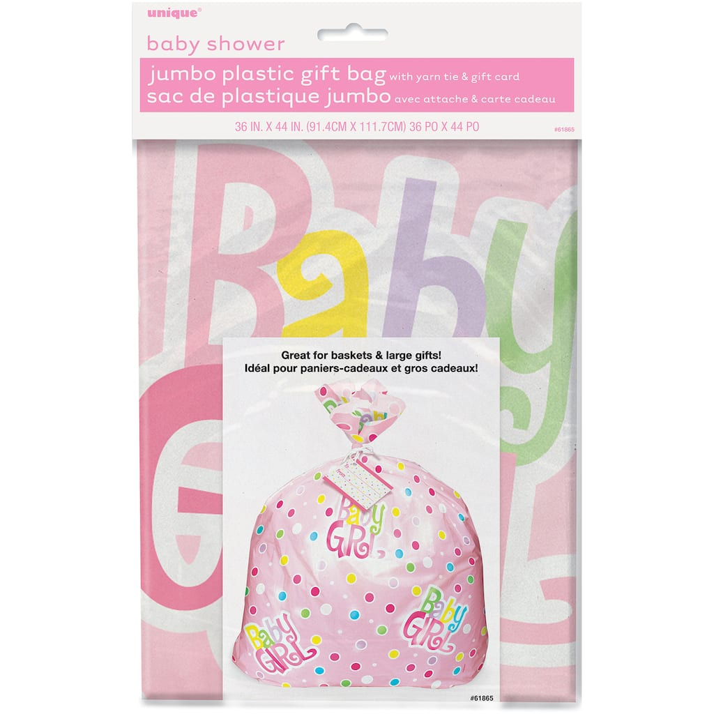 Jumbo Plastic Pink Polka Dot Girl Baby Shower Gift Bag Img