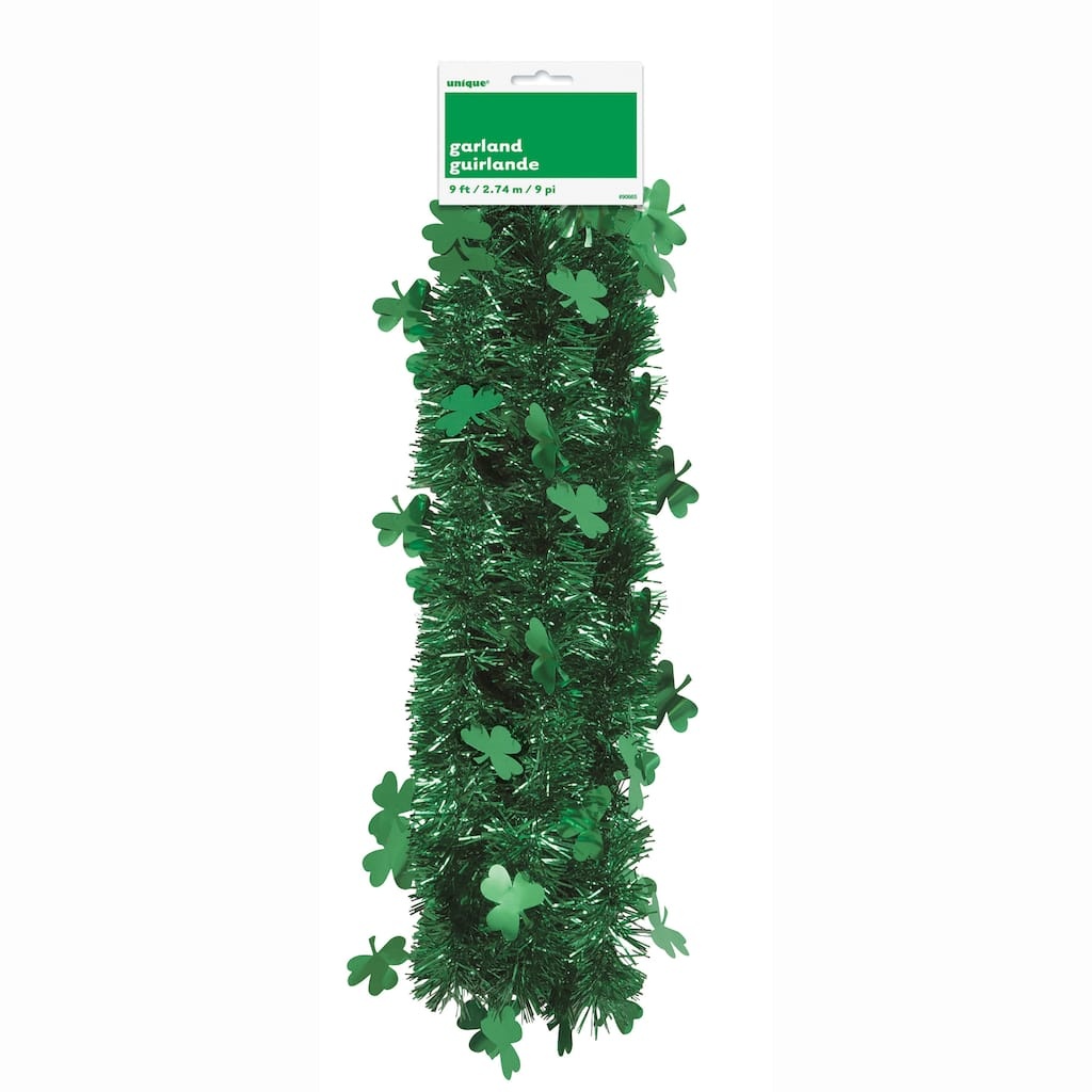1 pack Green St Patrick/'s Day garland with shamrocks 9 ft.