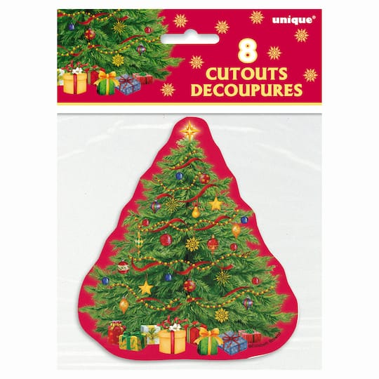 Paper Cutout Starry Christmas Tree Decorations 8ct