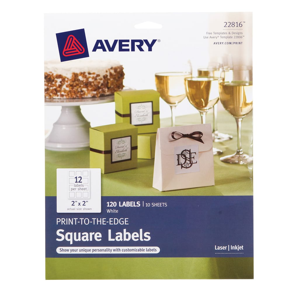 avery print to the edge 2 in white square labels makes 120