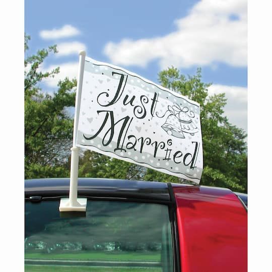 Just Married Desk Table Top Flag