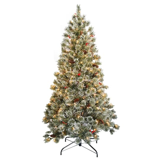 Pre-Lit & Pre-Decorated Crystal Cashmere Full Artificial Christmas Tree,  Clear Lights - 6 Ft. Pre-Lit & Pre-Decorated Crystal Cashmere Full Artificial