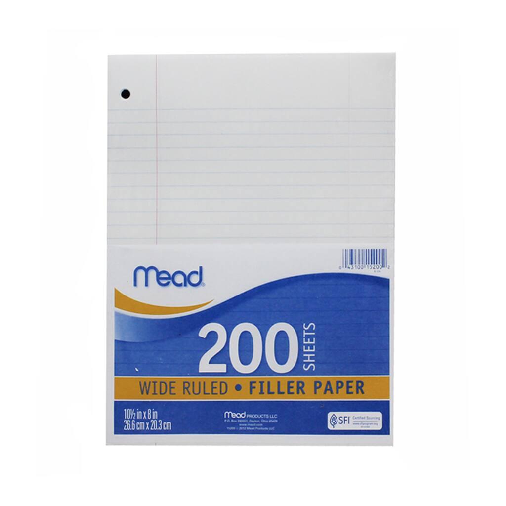 mead notebook filler paper, wide ruled