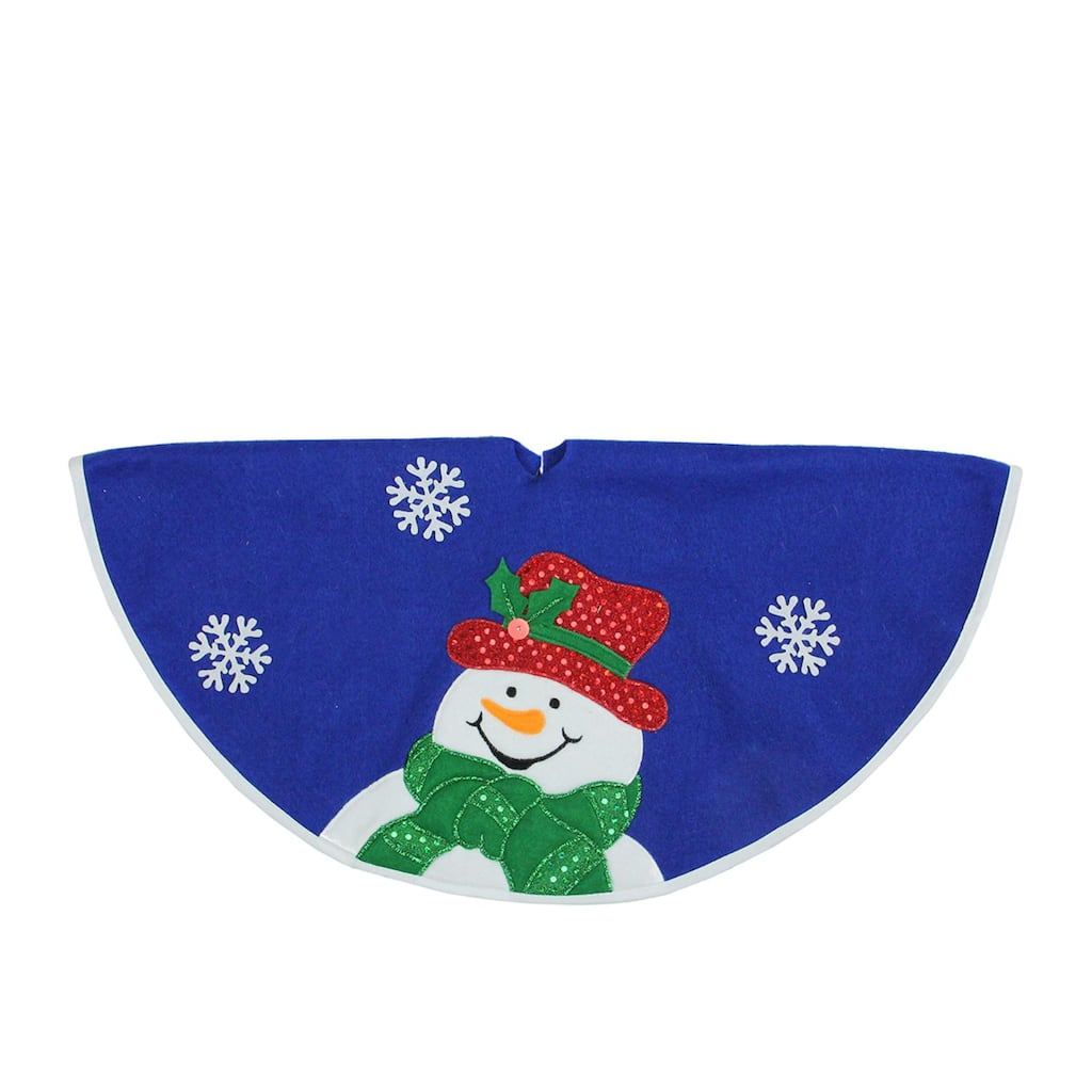 """Christmas Tree Stand That Turns: Buy The 20"""""""" Blue Mini Tree Skirt With Embellished Snowman"""