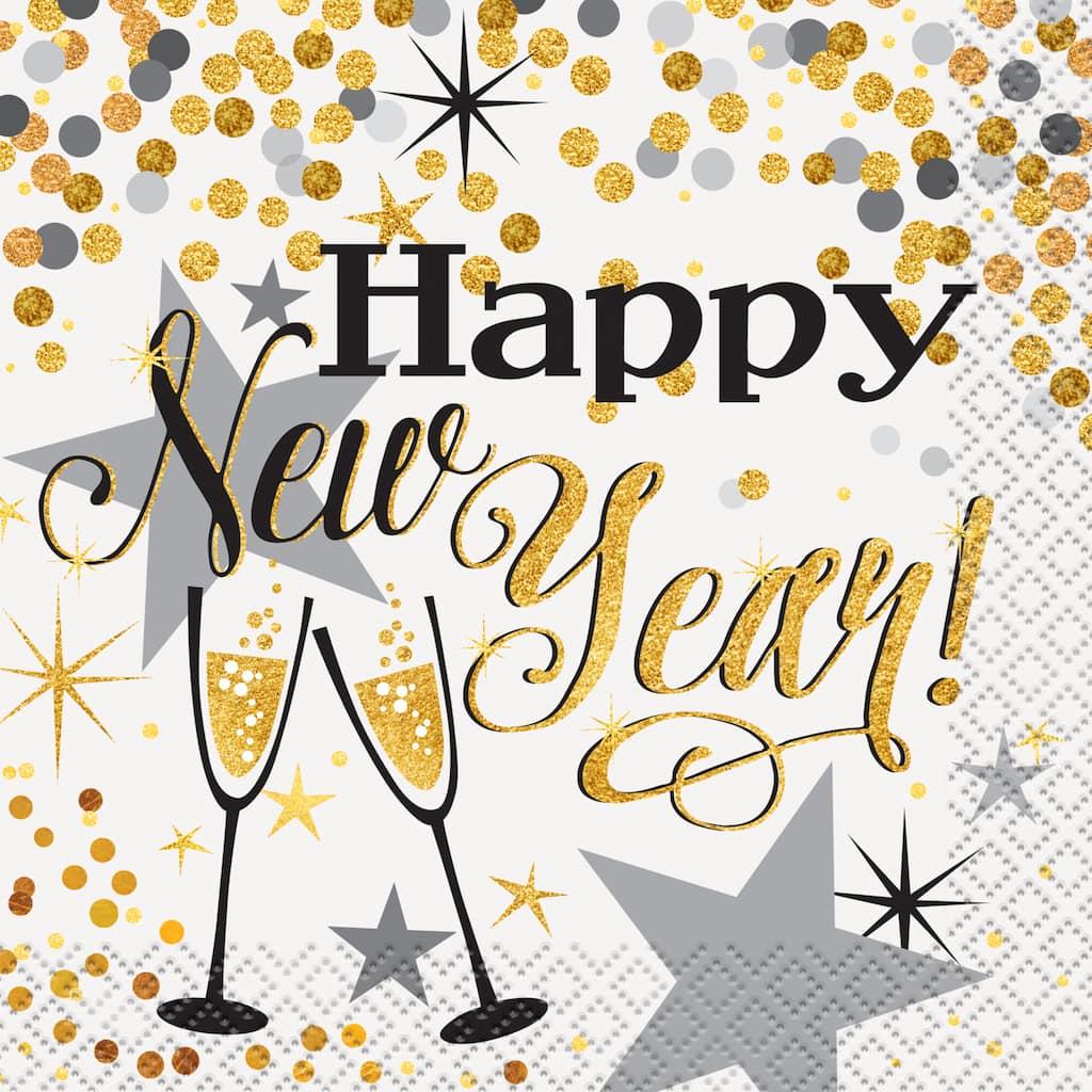 Glittering New Years Eve Beverage Napkins | New Years ...