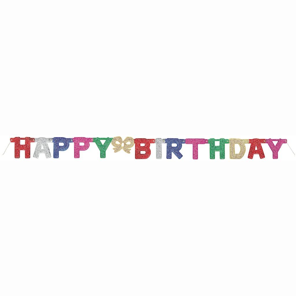 Glitter Happy Birthday Party Banner