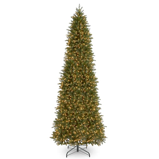 12 ft pre lit feel real jersey fraser fir pencil slim artificial christmas tree clear lights