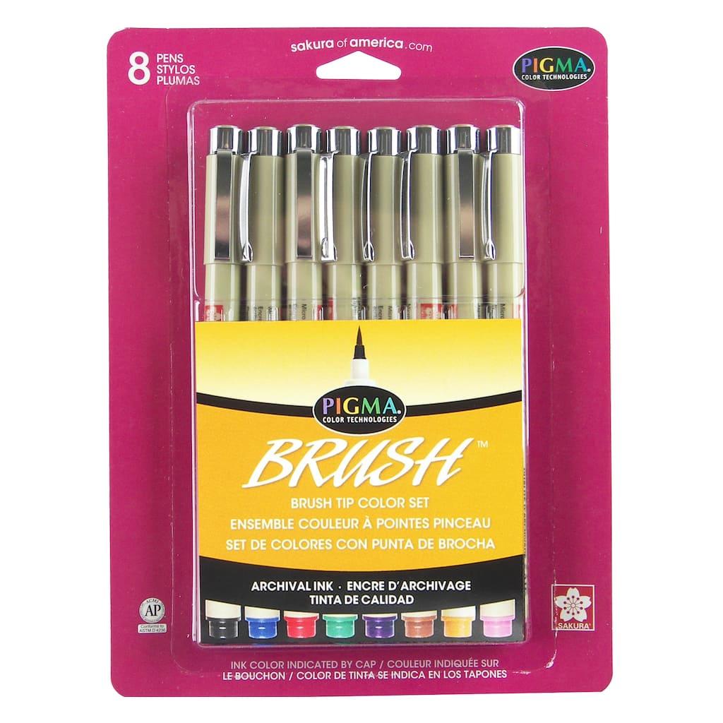 Genuine Sakura Pigma Micron Brush Tip Set of Drawing Pens Colours